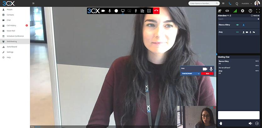 Neue Oberfläche des 3CX WebMeeting
