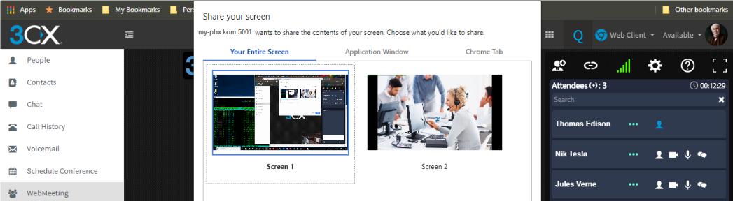 Nutzen Sie die Option, Ihren Bildschirm zu teilen, ganz ohne Plugins mit 3CX WebMeeting