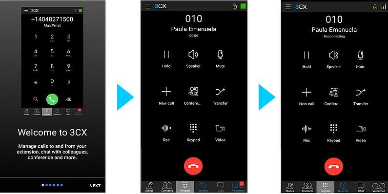 Startup Wizard, verschlüsselte Anrufe und Wiederverbinden mit der 3CX Android App Beta