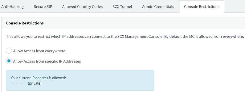 Konsolen-Einschränkungen in den 3CX-Sicherheitseinstellungen