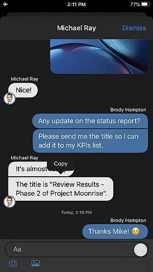 neue iOS Beta App mit der Option, Chats zu kopieren