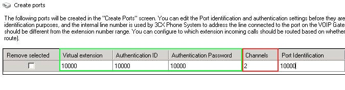 Create Ports - VoIP gateway