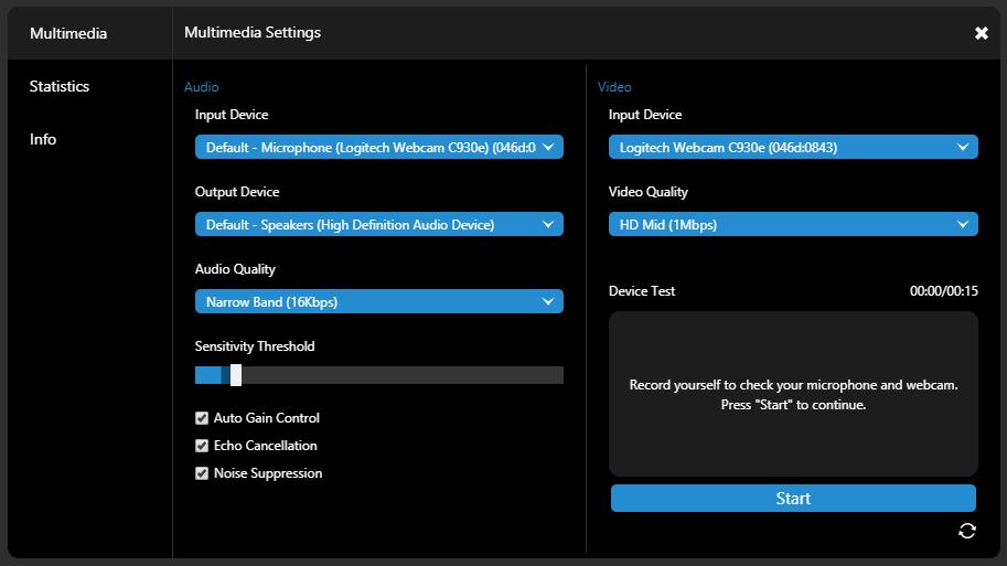 Novas opções de Configuração de Multimídia na funcionalidade de Webconferência 3CX