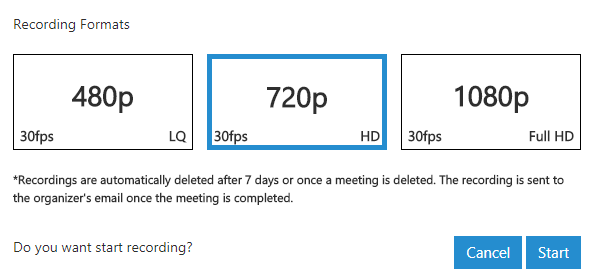 Grave em diferentes definições com a Webconferência 3CX