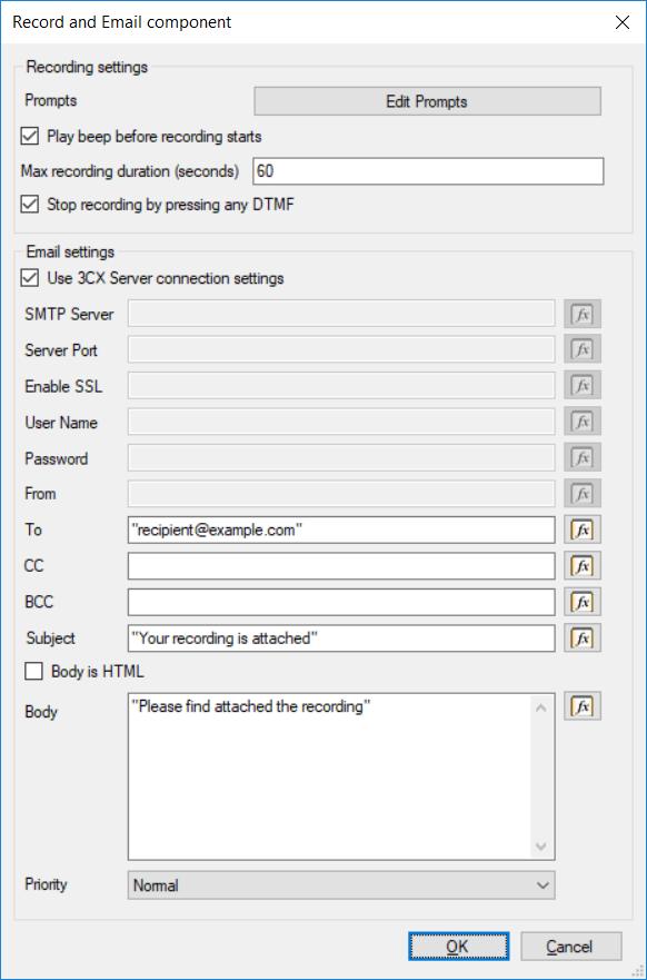 El nuevo componente de Grabación y Correo Electrónico en el Call Flow Designer 3CX