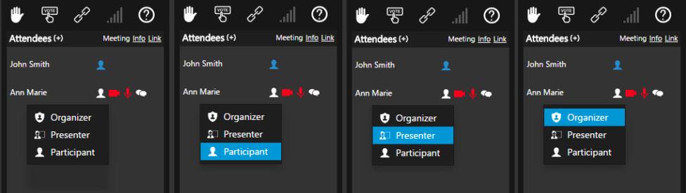 3CX webmeeting rôles - organisateur, présentateur ou participant