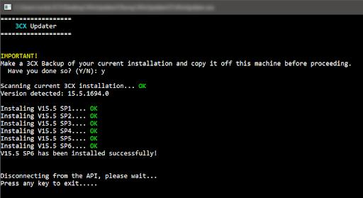 Processus de mise à jour automatique de 3CX