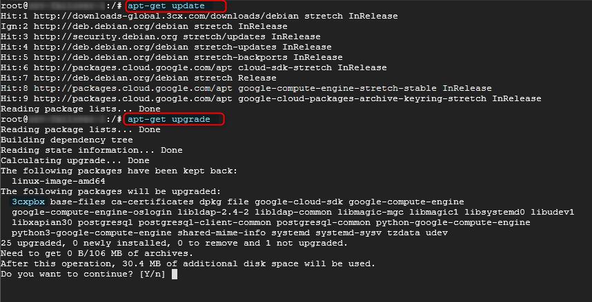 Lignes de commandes pour procéder à la mise à jour 3CX sous Linux.