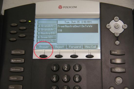Transfert Polycom - bouton réponse