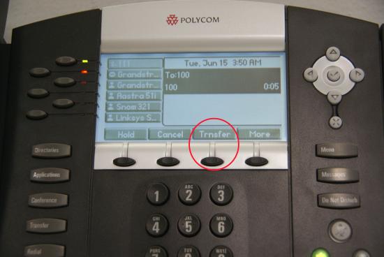 Transfert Polycom - bouton de transfert