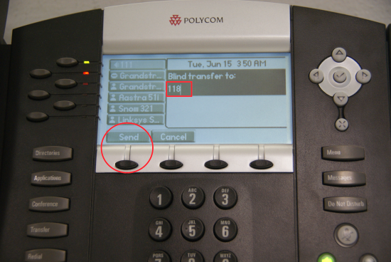 Transfert Polycom - bouton d'envoi de transfert aveugle