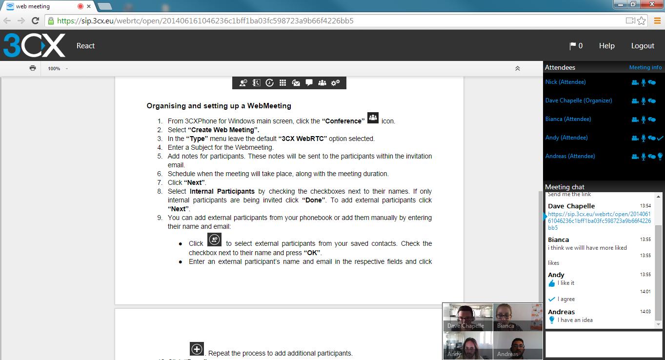 Partage de documents pendant une web conférence