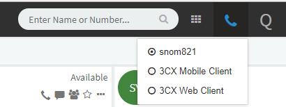 Choisissez quel téléphone vous voulez utiliser depuis le téléphone web 3CX