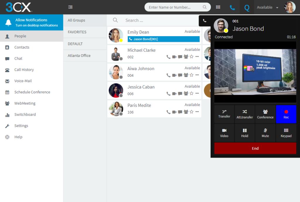 Новый браузерный софтфон WebRTC и голосовой кодек OPUS в обновлении 3CX v15.5 Update 6 Beta