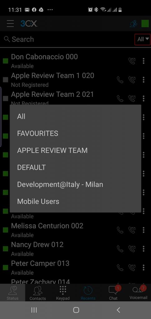 Vervolgkeuzemenu met groepen in de 3CX VoIP-app voor Android