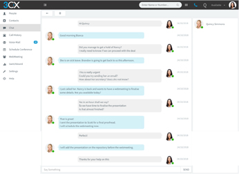 Chat met uw collega's via de 3CX-webclient